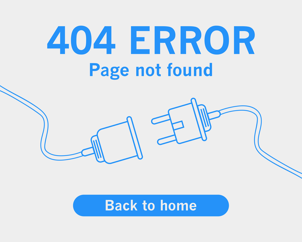 404 error page not found with line drawn plug graphic