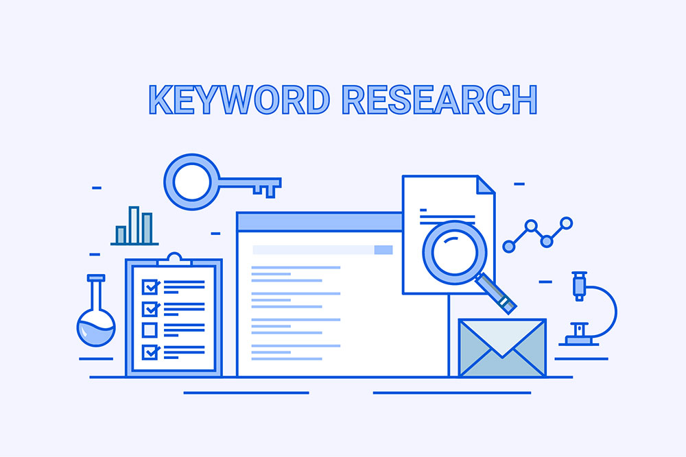 Keyword research, vector graphics of laptop screen, magnifying glass, key, graphs