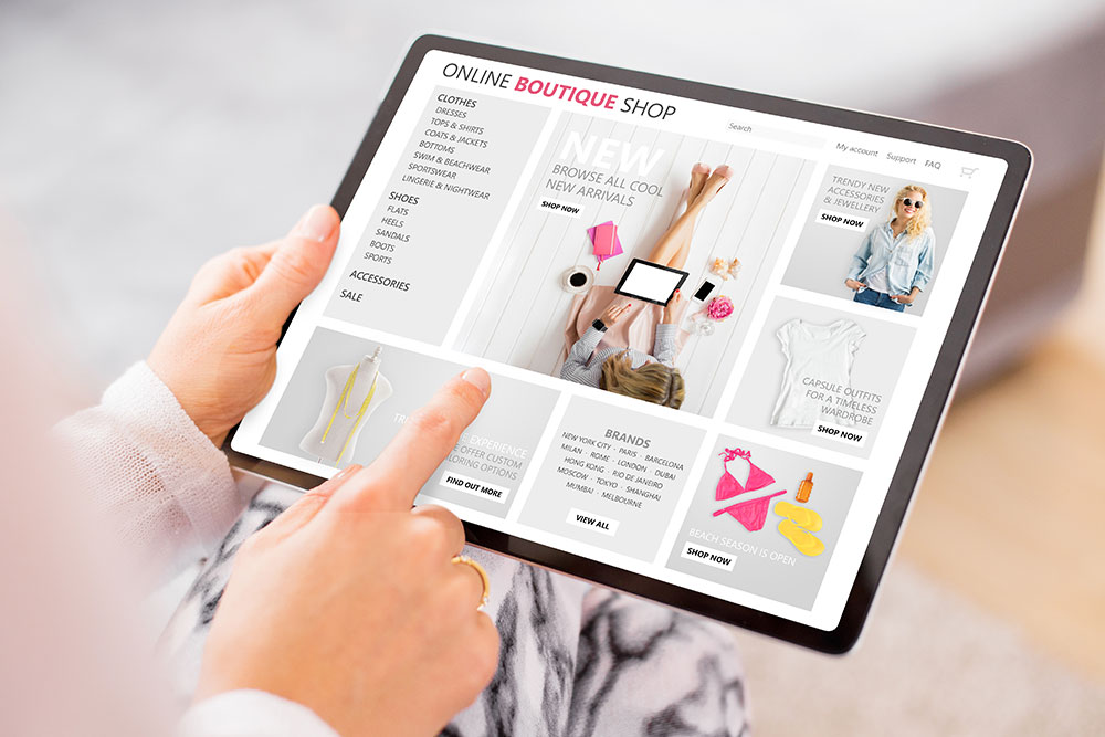 Woman browsing online shop on tablet